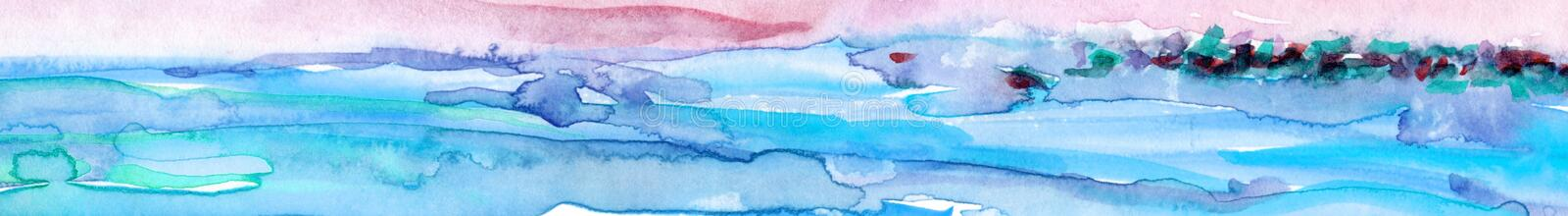 Hand Drawn Abstract Watercolor Landscape. NSea Landscape. Hand-drawn watercolor illustration on textured paper.n royalty free stock image