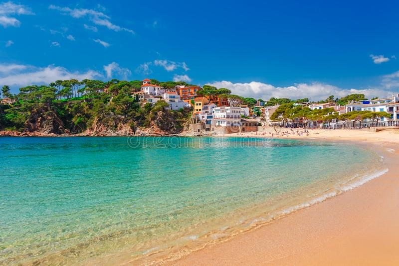Sea landscape Llafranc near Calella de Palafrugell, Catalonia, Barcelona, Spain. Scenic old town with nice sand beach and clear. Blue water in bay. Famous stock images
