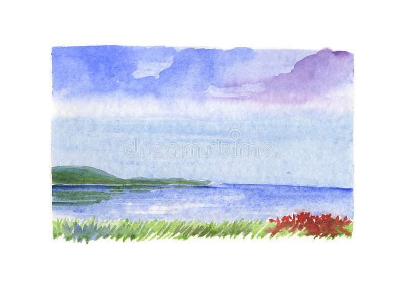 Sea landscape with red flowers - watercolour vector illustration
