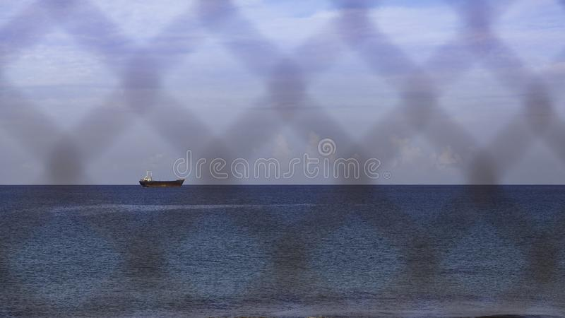 Sea landscape with ship wreck MV demitrios II royalty free stock image