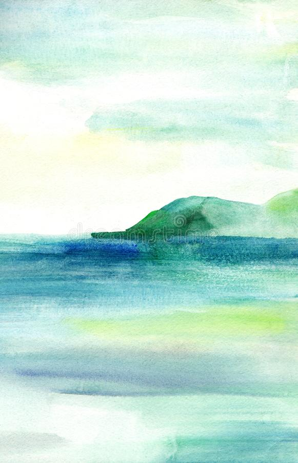 Sea landscape, Sea side, beach, mountains. Beautiful watercolor hand painting illustration. royalty free illustration
