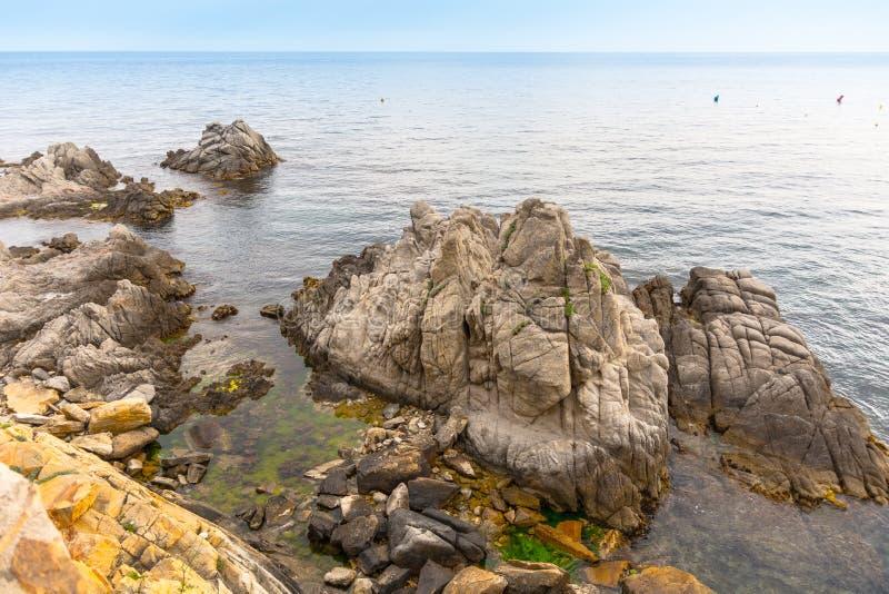 Sea landscape in the Spain. Beautiful view of the Costa Brava coast. la Gavina. Famous tourist destination in Costa royalty free stock photos