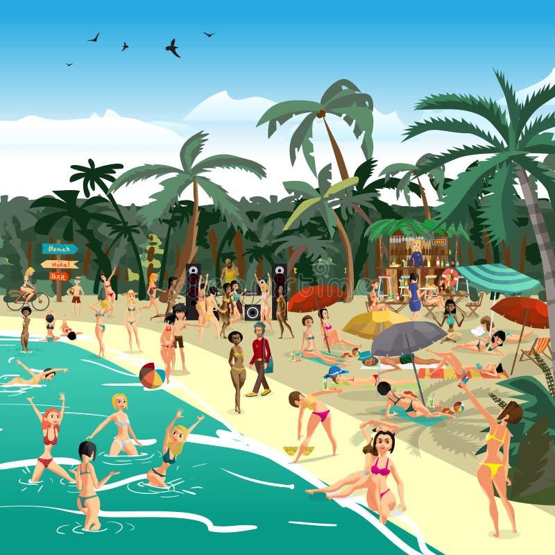 Woman With Beautiful Body In Bikini At Beach Stock Image: Sea Landscape Summer Beach. Beach Bar With Bartender