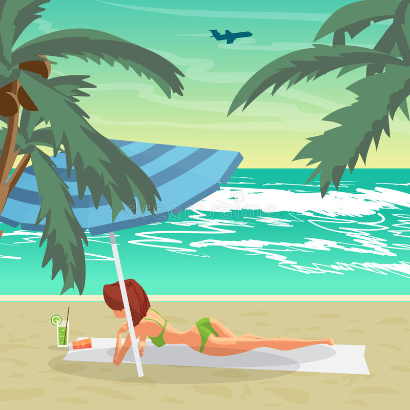 Sea Landscape Summer With Nude Beach Young Naked Women Sunbathing On The Sand And -3761