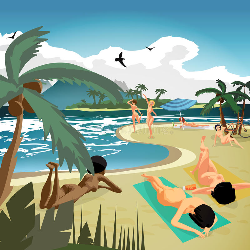 Sea Landscape Summer Private Beach Young Nude Women Sunbathing Stock Vector -5640