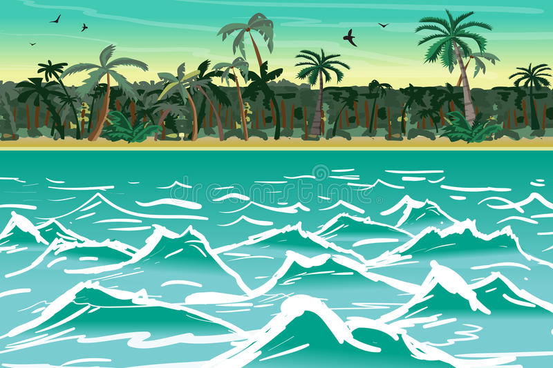 Sea landscape summer tropical beach with palm trees. Tropical is royalty free illustration