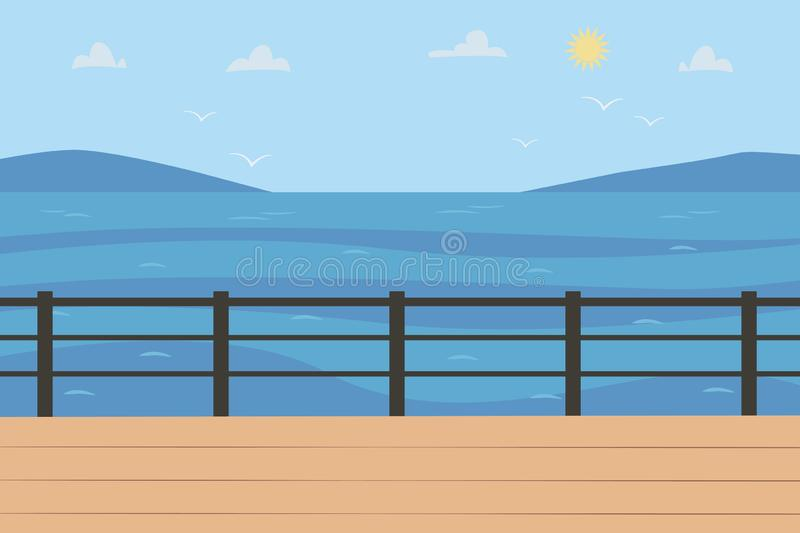 Sea Landscape in sunny weather. Horizontal Background with seascape scenic view, quay or seafront, sky stock illustration