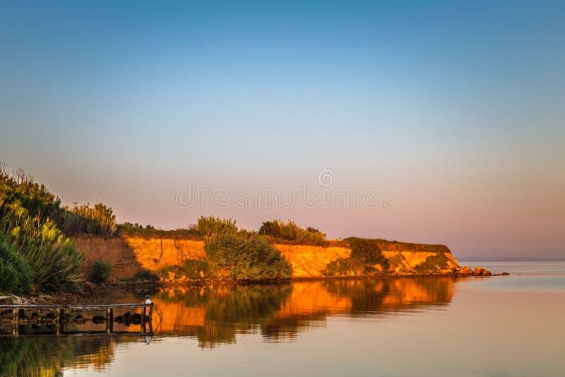 Sea landscape at sunrise near Privlaka village in Croatia stock image