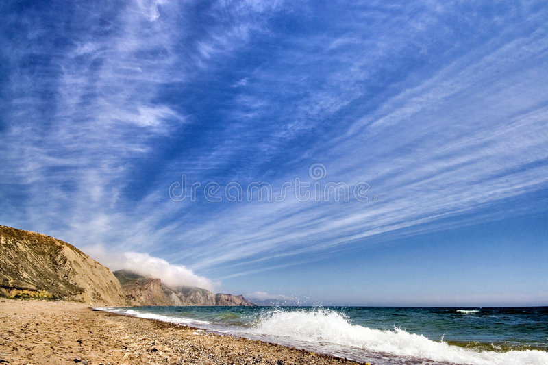 Sea landscape with waves royalty free stock photos