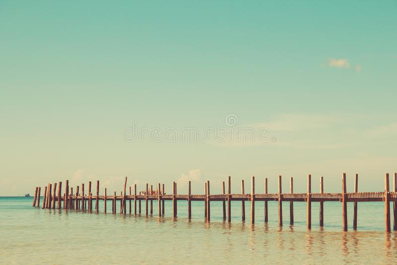 Sea landscapes or ocean seascape Nature outdoors Vintage style tone. Wooden spoons, sea or sea views. Outdoor Nature, Vintage Style Sound royalty free stock image