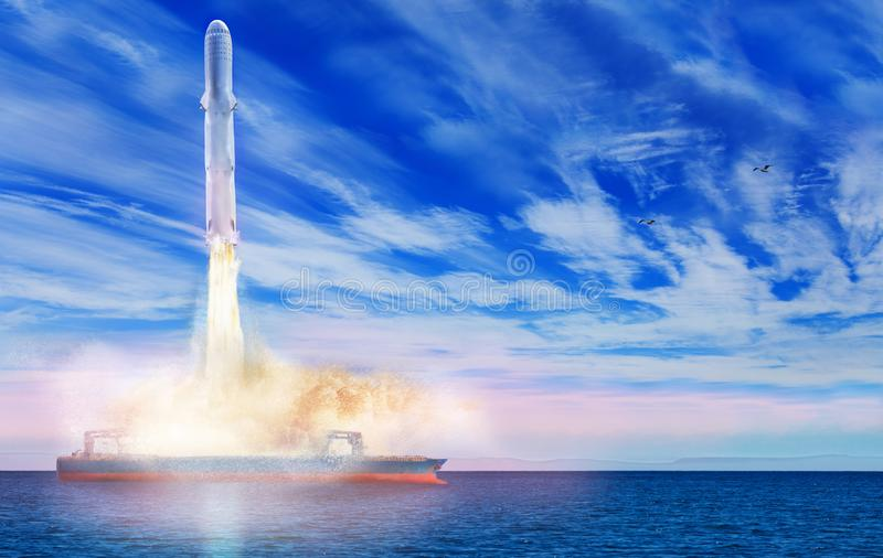 Sea launch liftoff of the space rocket from ship royalty free stock photos