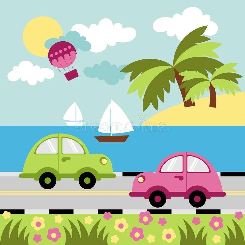 Sea Leisure. Seascape with a balloon, automobiles and sailboats royalty free illustration
