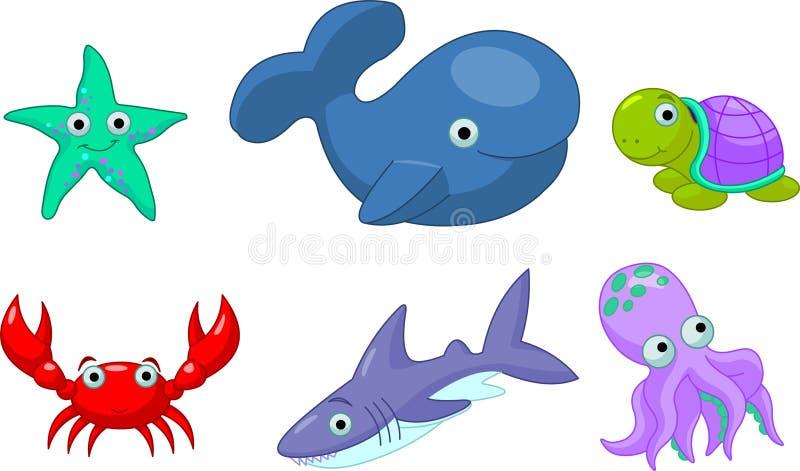 Sea Life. An Colorful cute sea creatures stock illustration