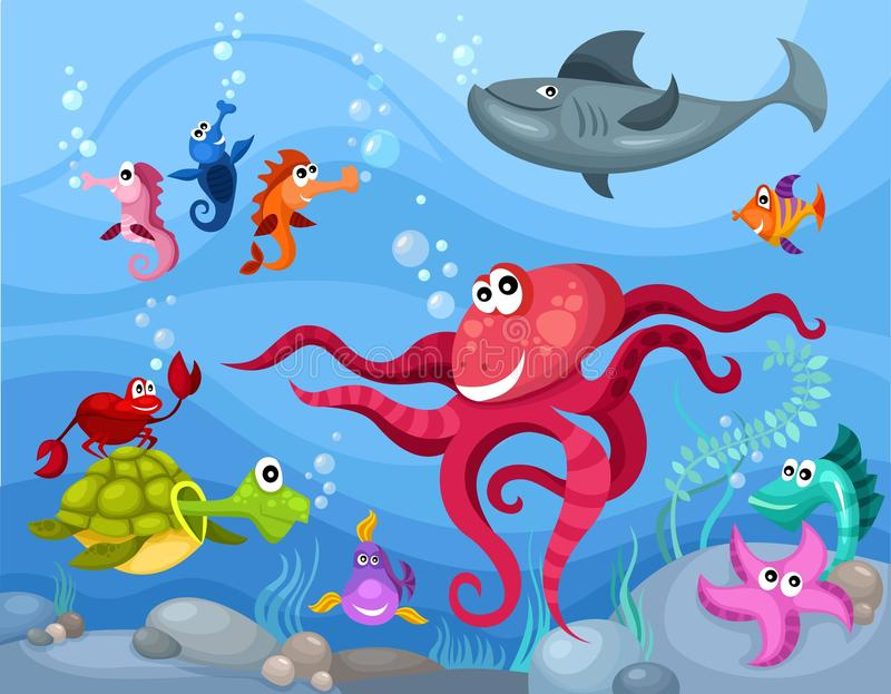 Download Sea life stock vector. Image of marine, button, nature - 19301107