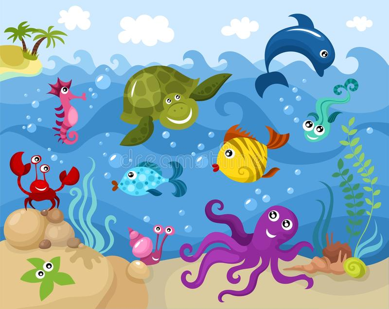 Sea life. Vector illustration of a sea life stock illustration