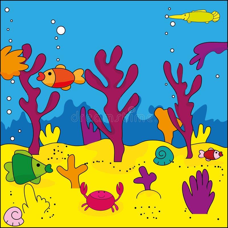 Sea life. Cute illustration of sea life, marine life stock illustration