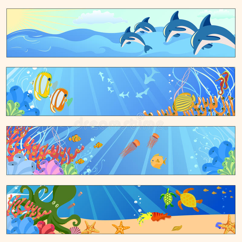 Download Sea life stock vector. Image of cheerful, design, background - 9539809