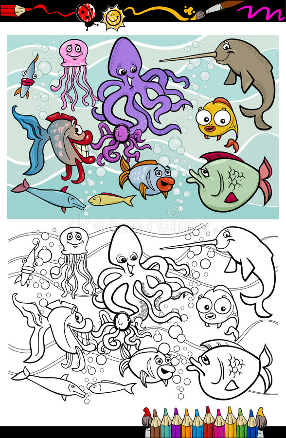 Download Sea Life Animals Group Coloring Book Stock Vector - Illustration of page, funny: 34416038