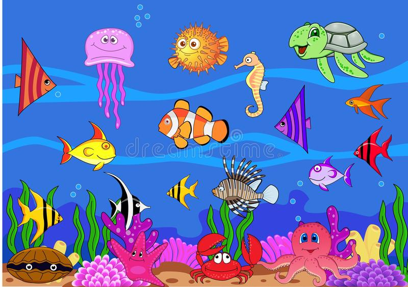Download Sea life background stock vector. Image of happiness - 22747430