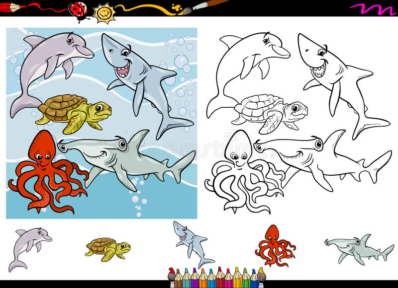 Sea Life Cartoon Coloring Page Set Stock Vector - Illustration of ...