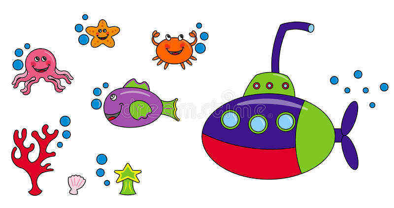 Sea life characters vector illustration