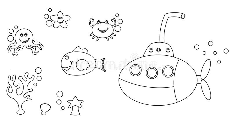 Sea life characters colouring royalty free stock photos