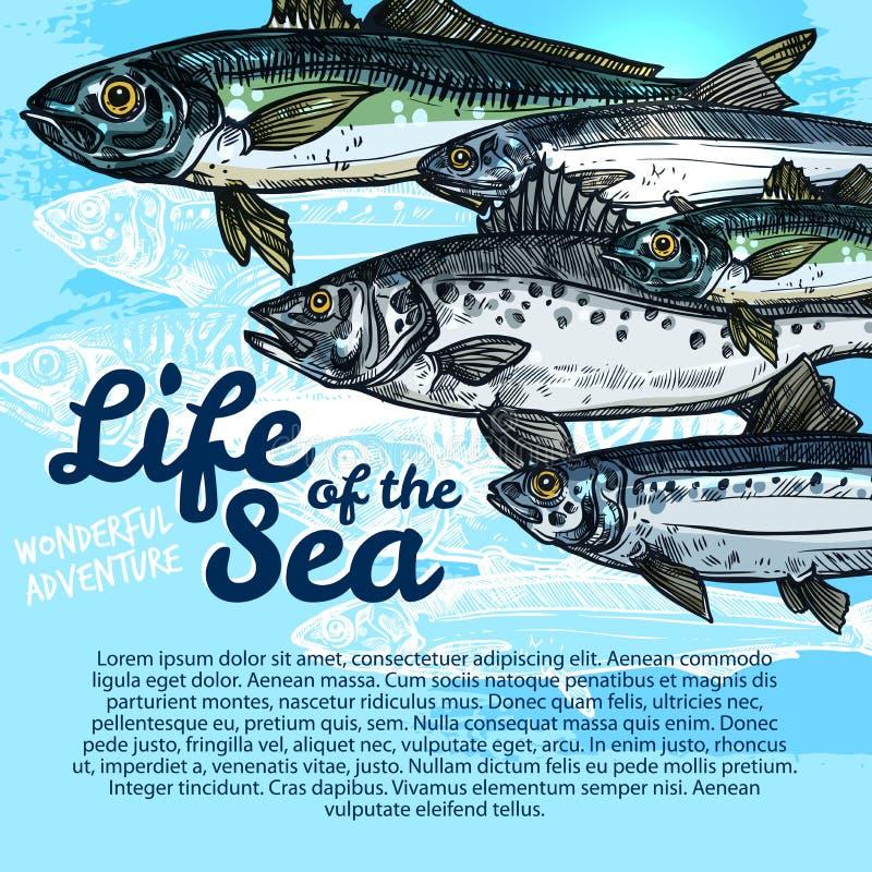 Vector poster of fish sea life or oceanarium royalty free illustration