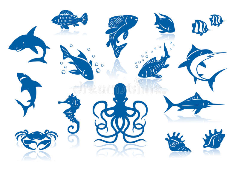Sea life and fishes icon set. royalty free illustration