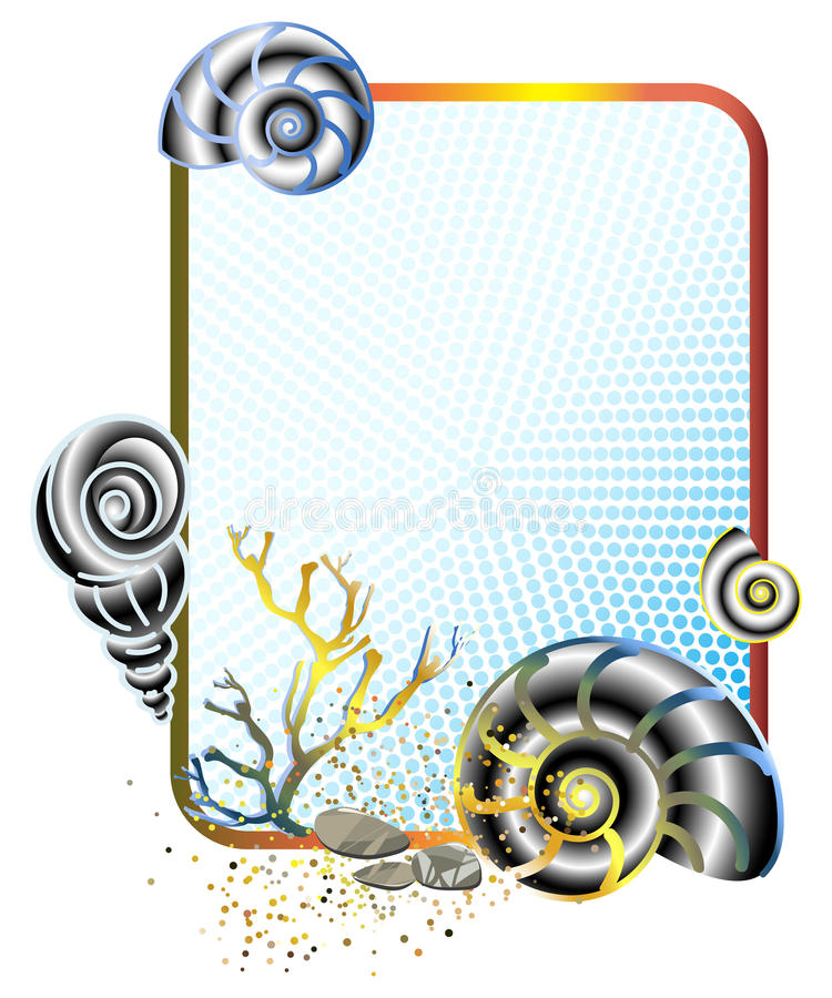 Download Sea Life In Frame With Shells Stock Vector - Image: 14850741