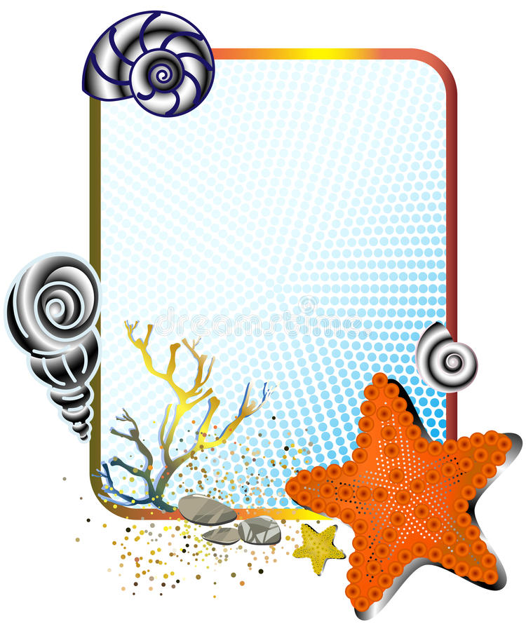 Sea life in frame with starfish vector illustration