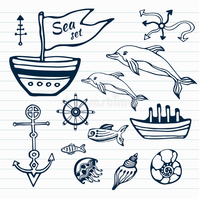 Sea life hand drawn doodle set. Nautical sketch collection with ship, dolphin, shells, fish anchors and helm stock illustration