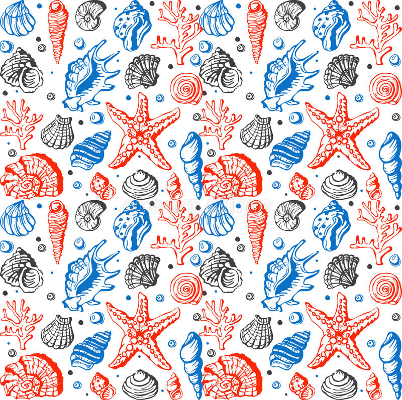 Sea life marine shells, coral and underwater stars hand drawn style vector seamless pattern background. Sea life marine shells, corral and underwater stars hand stock illustration