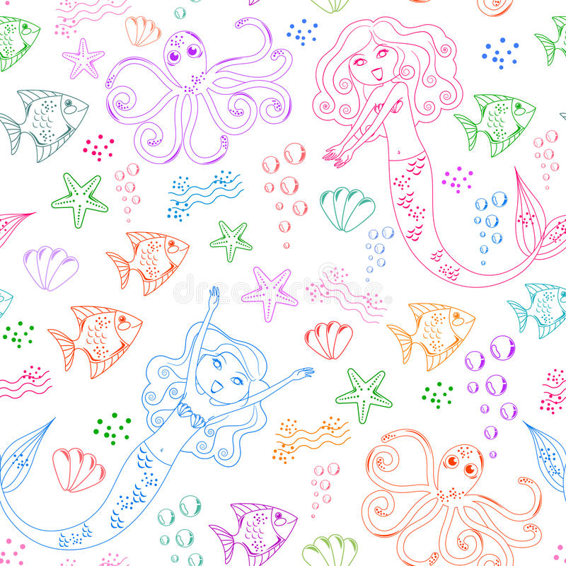 Download Sea life pattern stock vector. Image of kids, isolated - 21694353