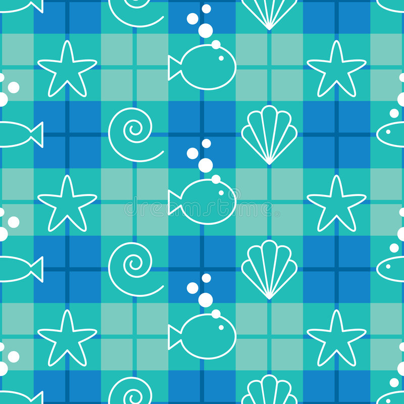 Sea Life Pattern. A 12 square repeating plaid pattern with sea life graphics stock illustration