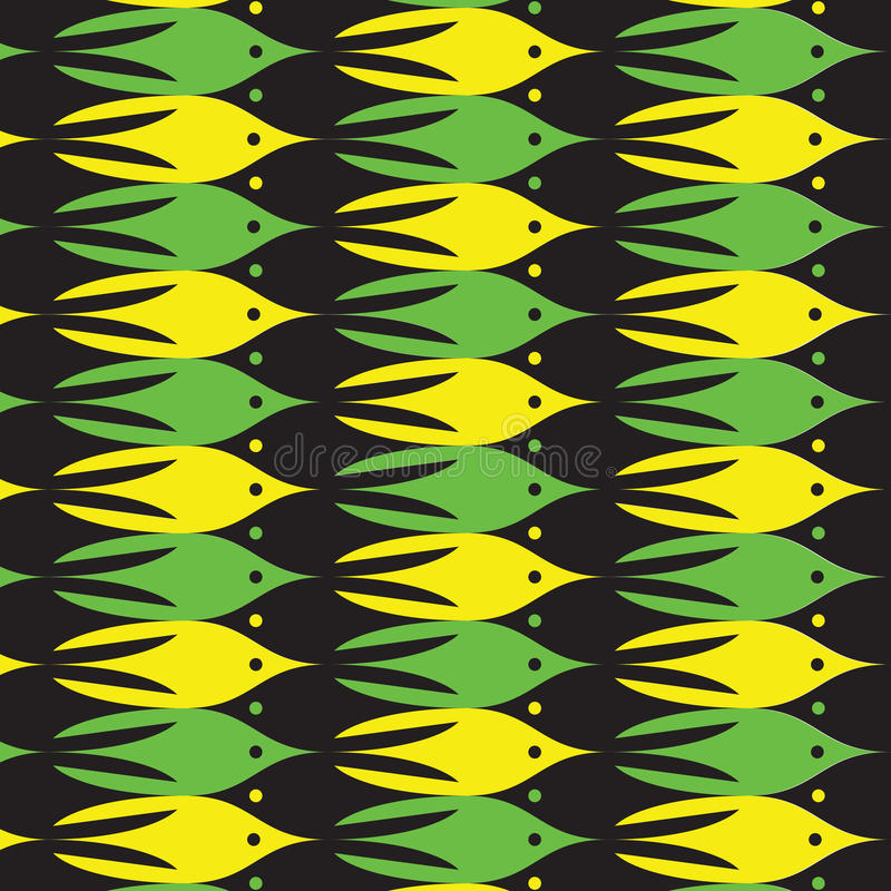 Sea life pattern with yellow, green and black fishes. royalty free illustration
