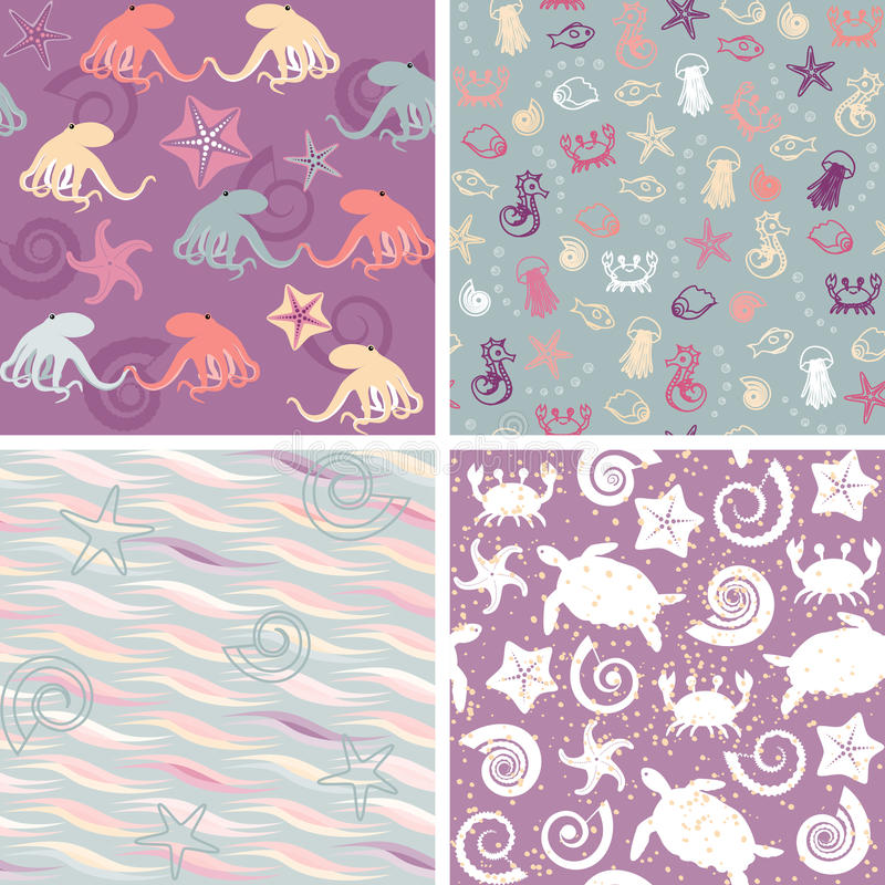 Sea life patterns collection 5 stock illustration