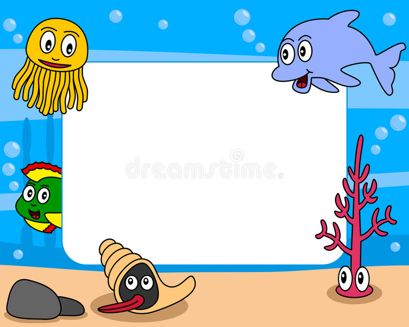 Sea Life Photo Frame [1]. Photo frame, post card or page for your scrapbook. Subject: a funny underwater scene with five cartoon marine animals (a jellyfish, a