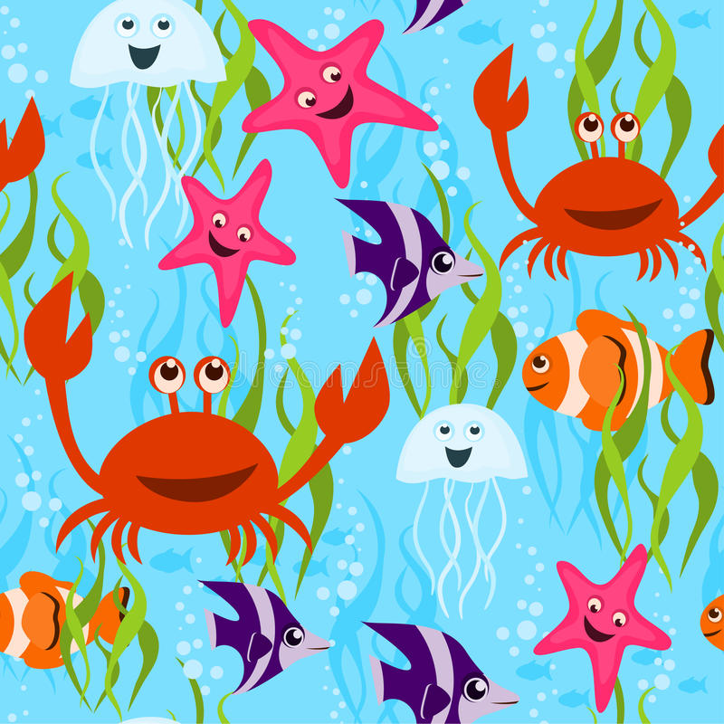Download Sea life seamless pattern stock vector. Illustration of happiness - 19395504