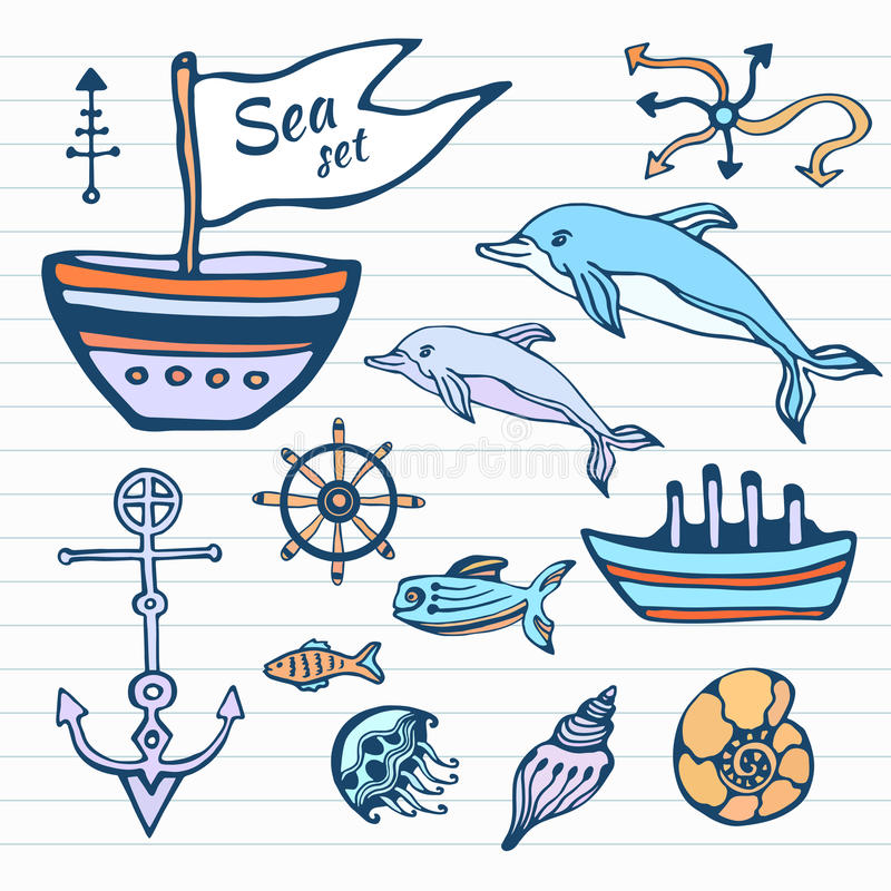 Sea life sketch hand drawn doodle set. Nautical collection with ship, dolphin, shells and other. Vector in color stock illustration