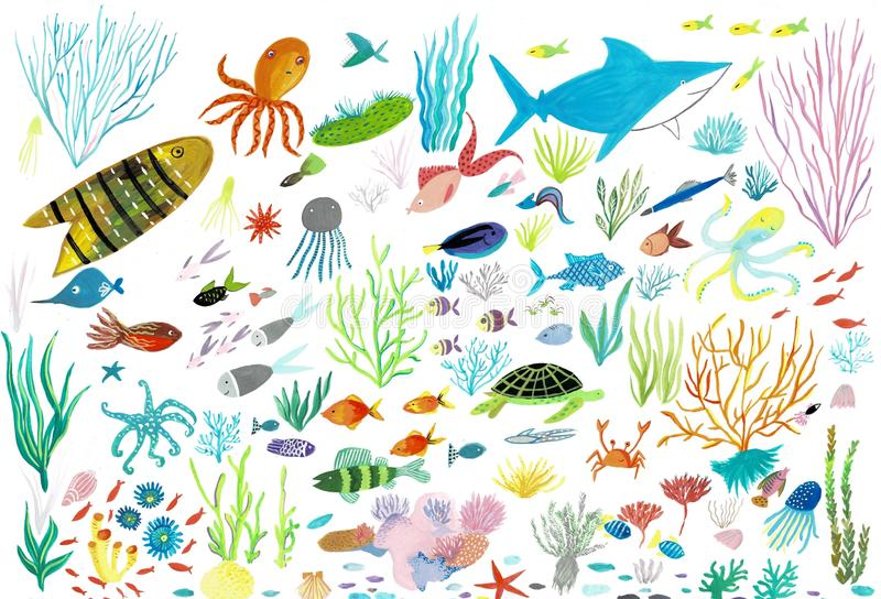 Sea life. Underwater world. Fish, jellyfish, sea bottom, algae, treasure. royalty free illustration