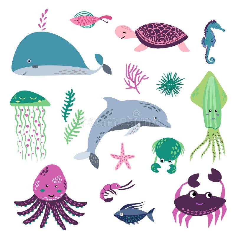 Sea life. Underwater world. Fish, jellyfish, sea bottom, backwaters ship, algae, treasure. Vector flat illustrations and royalty free illustration