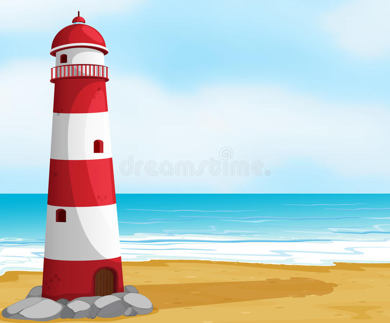 Sea and light house royalty free illustration