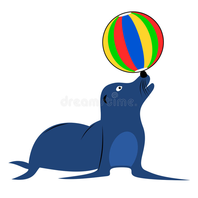 Sea lion. Blue sea lion playing with beach ball. Isolated cartoon childish vector illustration vector illustration