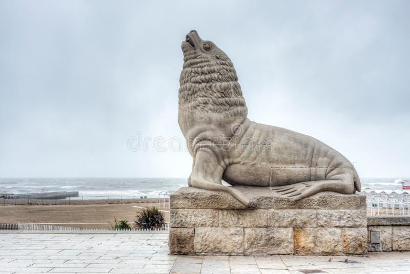 Sea Lion in Mar del Plata, Buenos Aires, Argentina. Lobo Marino Sea Lion famous landmark of the coastal city of Mar del Plata in Buenos Aires province, Argentina royalty free stock photos