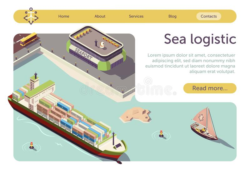 Sea Logistic and Transportation Isometric Banner stock illustration