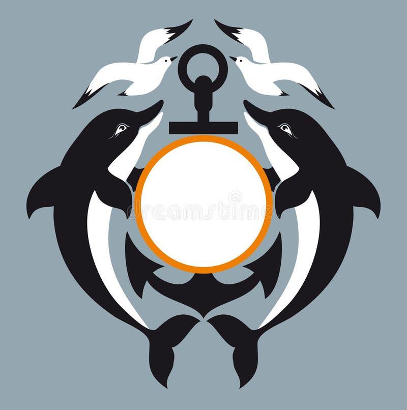 Sea Logo. Anchor. Dolphin. Seagull Royalty Free Stock Photos