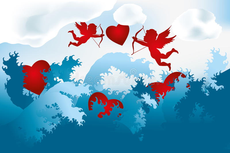 Sea of love - cupids on heart hunting. (falling hearts drowning) - abstract illustration royalty free illustration