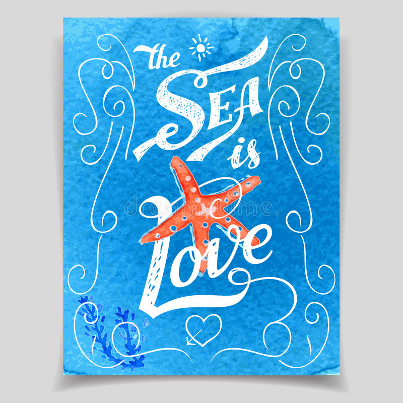 The Sea is Love greeting card vector illustration