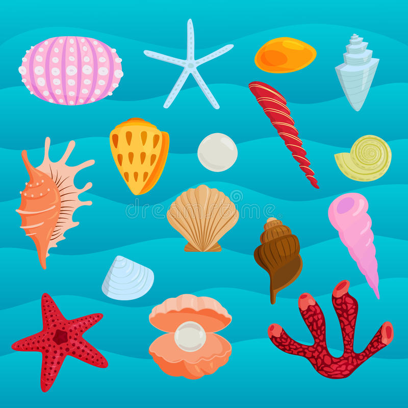 Sea marine animals and shells vector illustration. royalty free illustration