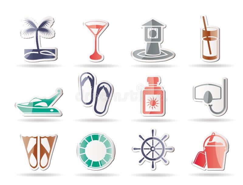 Sea, marine and holiday icons royalty free illustration